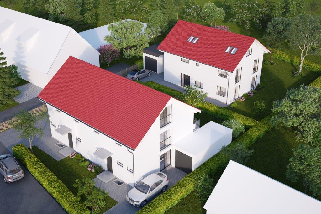 Doppelhaus in erster Reihe & Einfamilienhaus in zweiter Reihe